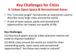 key challenges for cities 4 urban open space recreational areas