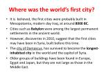 where was the world s first city