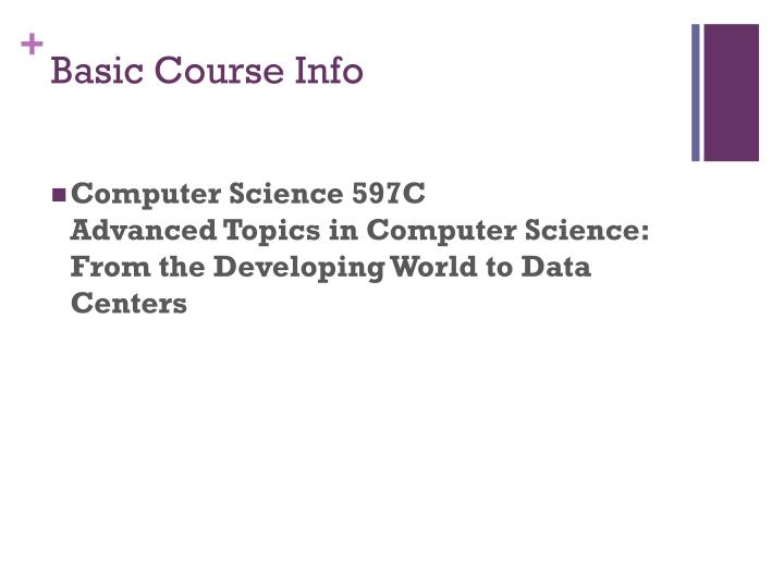 Basic course info