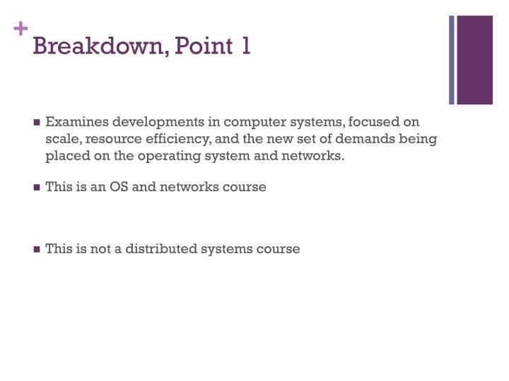 Breakdown, Point 1