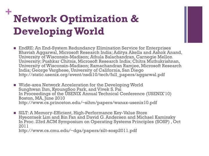Network Optimization & Developing World