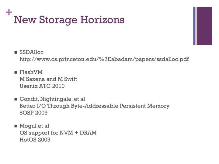 New Storage Horizons