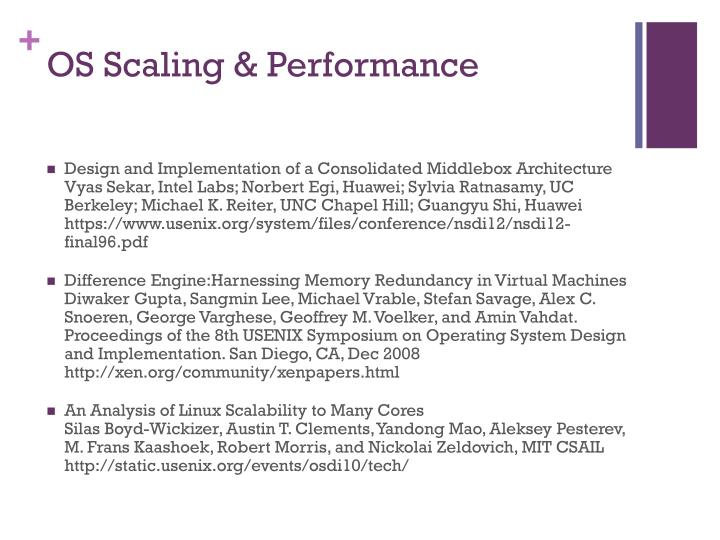 OS Scaling & Performance