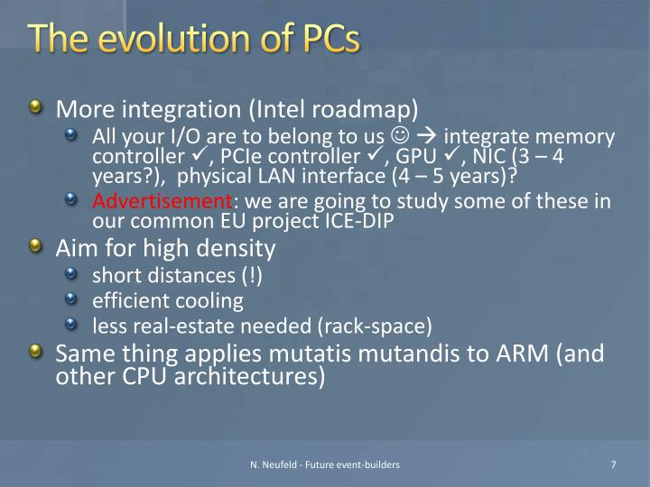 The evolution of PCs