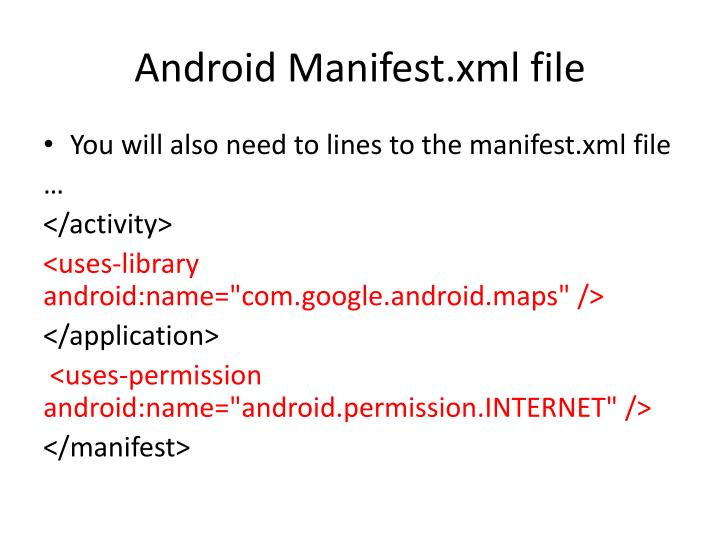 Android Manifest.xml file