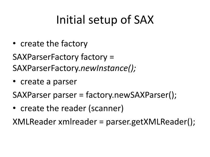 Initial setup of SAX
