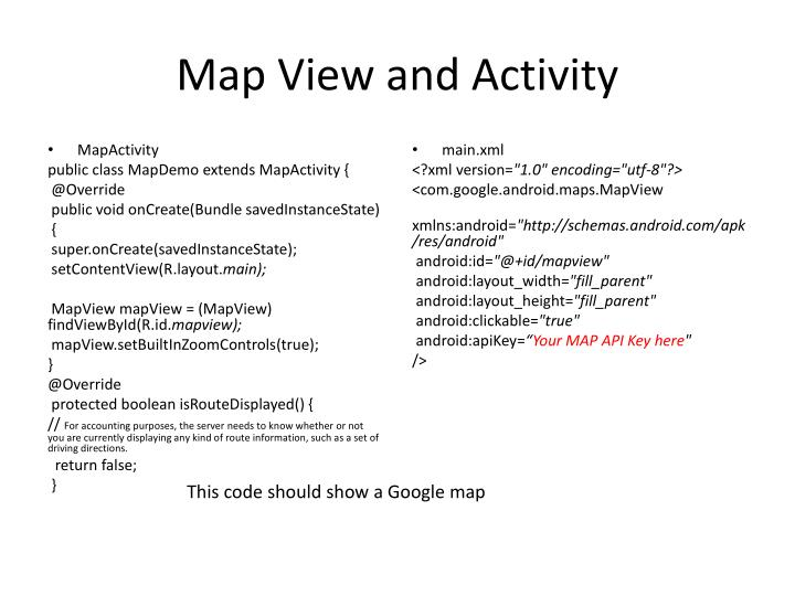 Map view and activity