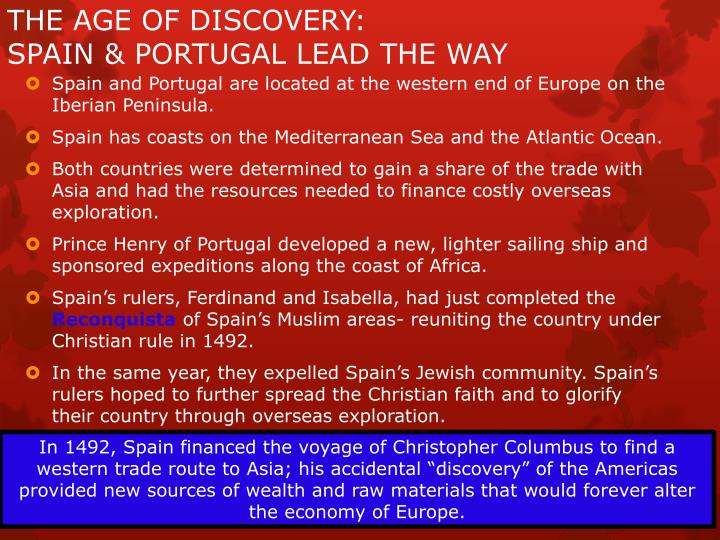 The age of discovery spain portugal lead the way