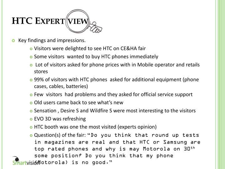 HTC Expert view
