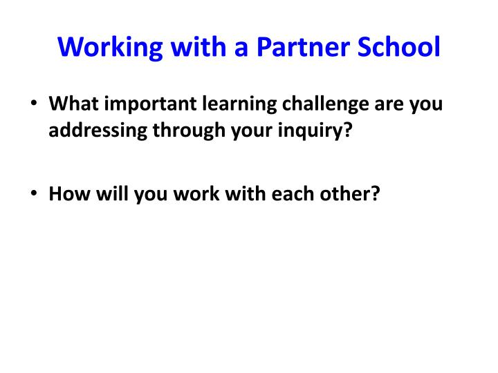 Working with a Partner School