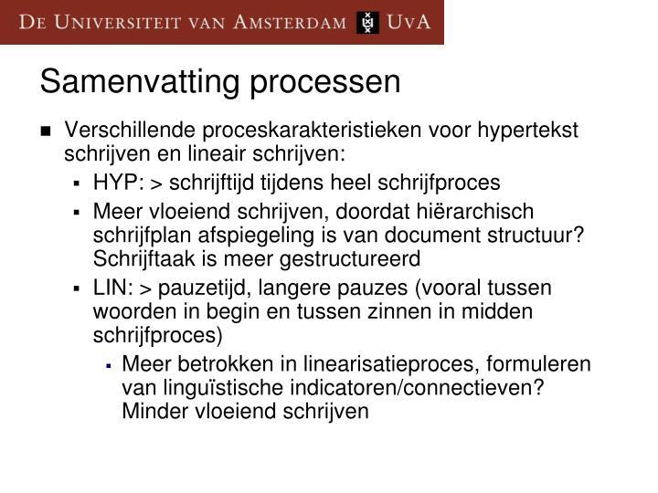 Verschillende proceskarakteristieken voor hypertekst schrijven en lineair schrijven: