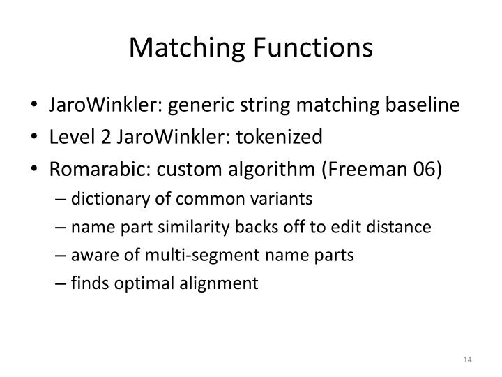 Matching Functions