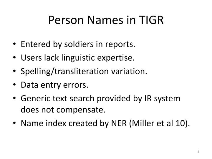 Person Names in TIGR