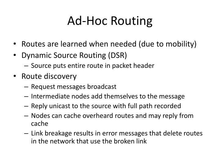 Ad-Hoc Routing