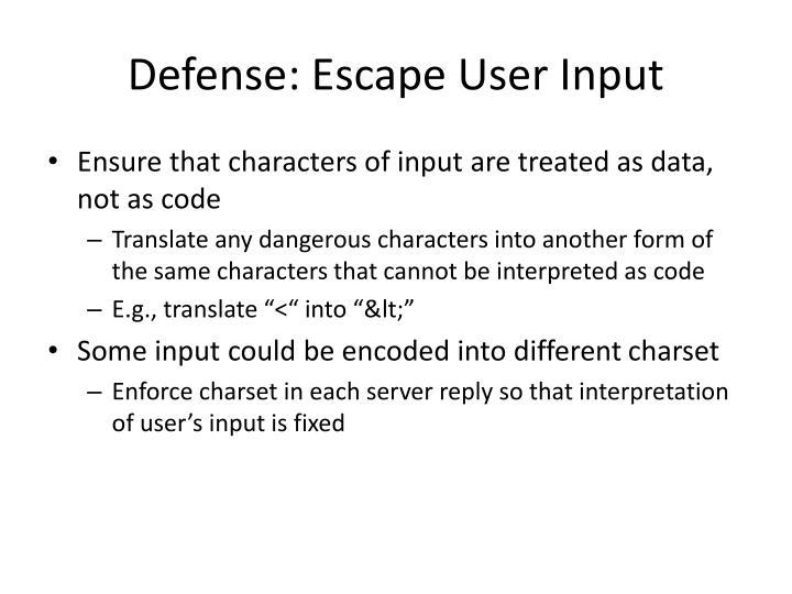 Defense: Escape User Input