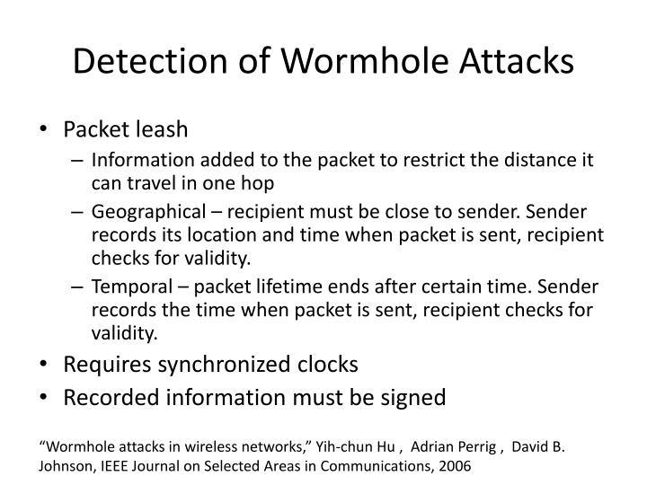 Detection of Wormhole Attacks