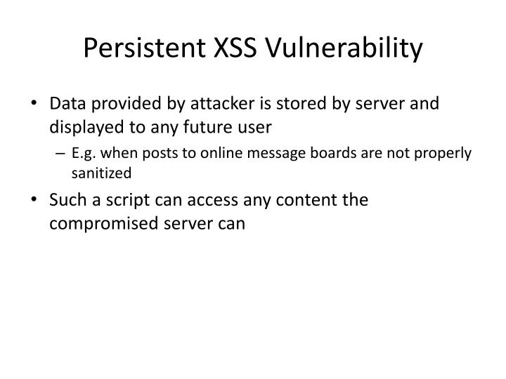 Persistent XSS Vulnerability