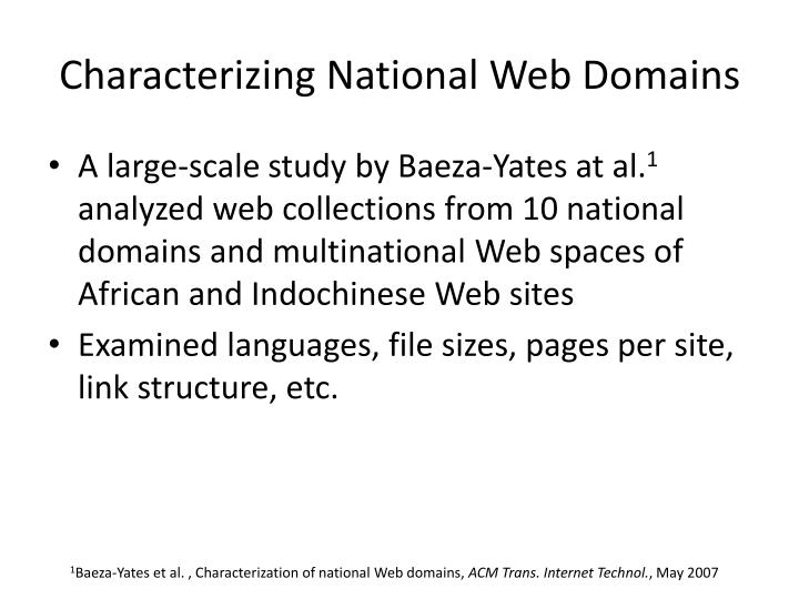Characterizing National Web Domains