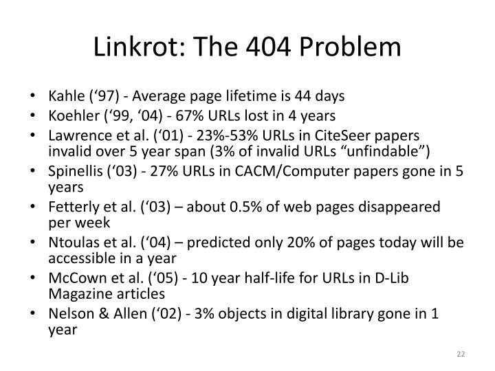 Linkrot: The 404 Problem