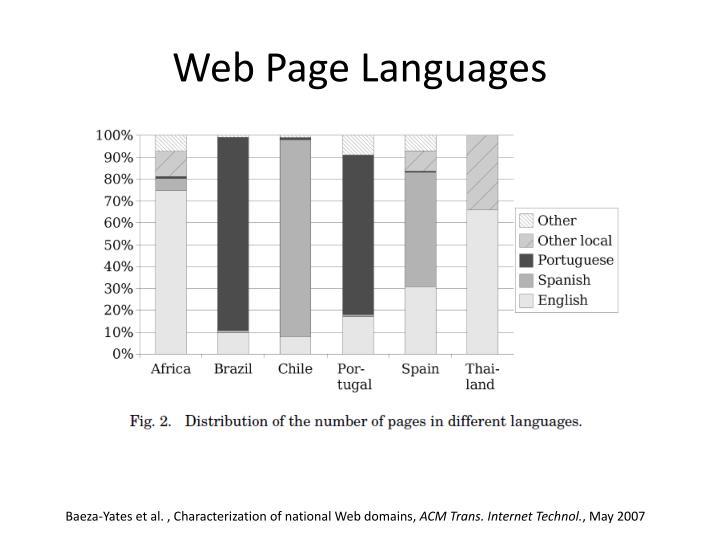 Web Page Languages