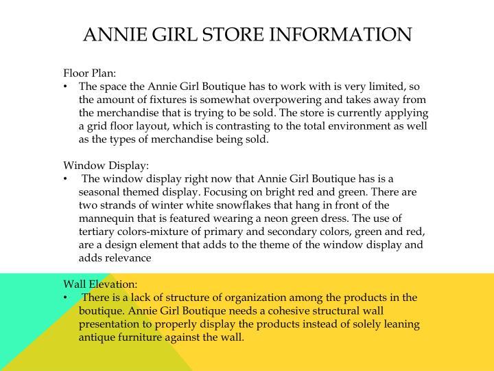 Annie girl Store information
