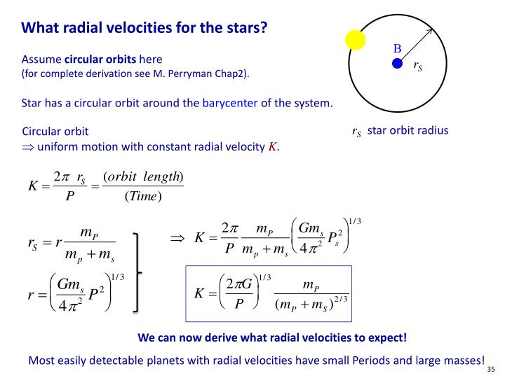 What radial velocities for the stars?