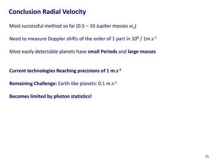 Conclusion Radial Velocity