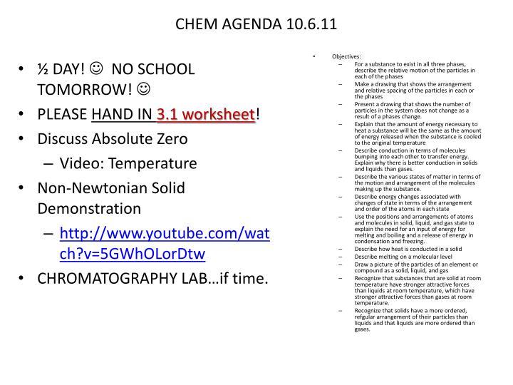 CHEM AGENDA 10.6.11