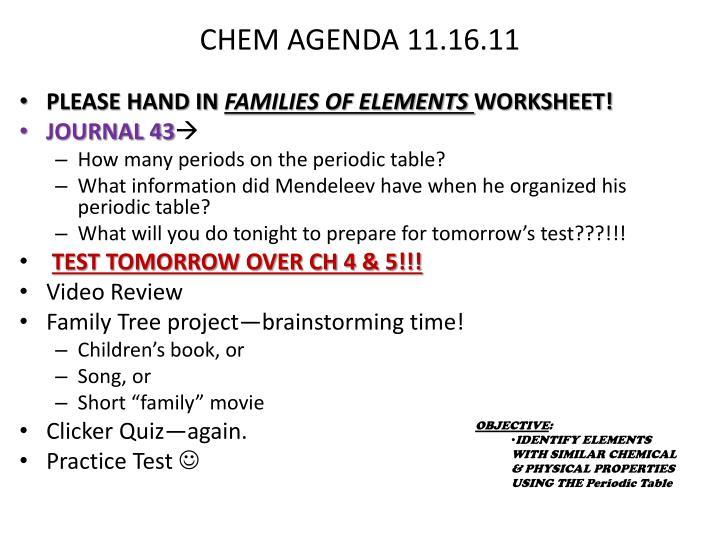 CHEM AGENDA 11.16.11