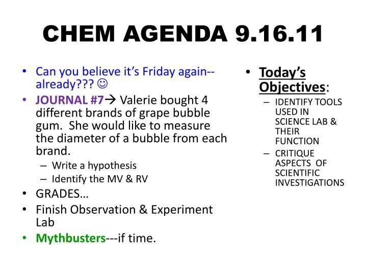 CHEM AGENDA 9.16.11