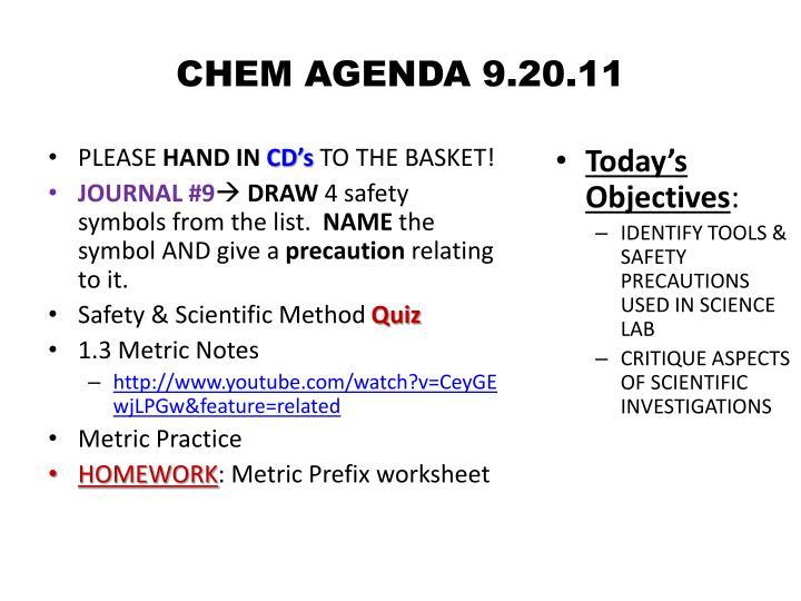 CHEM AGENDA 9.20.11