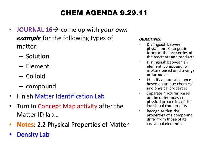 CHEM AGENDA 9.29.11