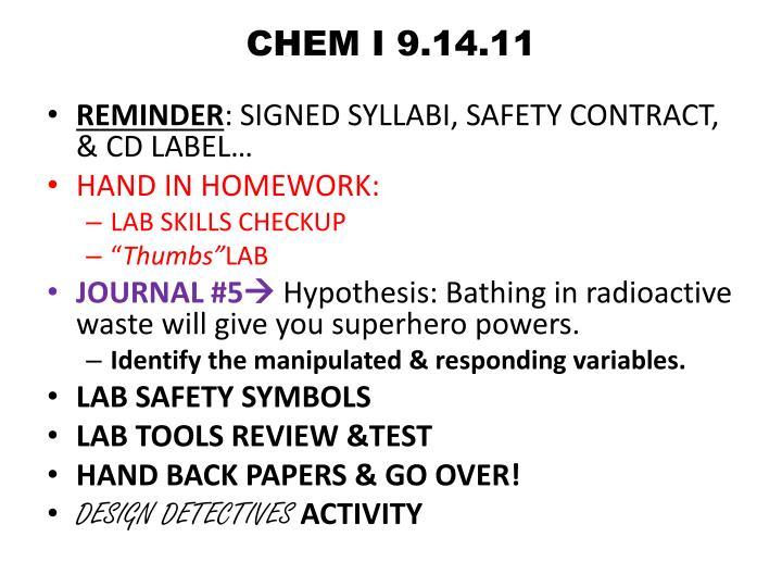 CHEM I 9.14.11
