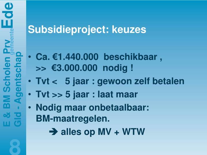Subsidieproject: keuzes