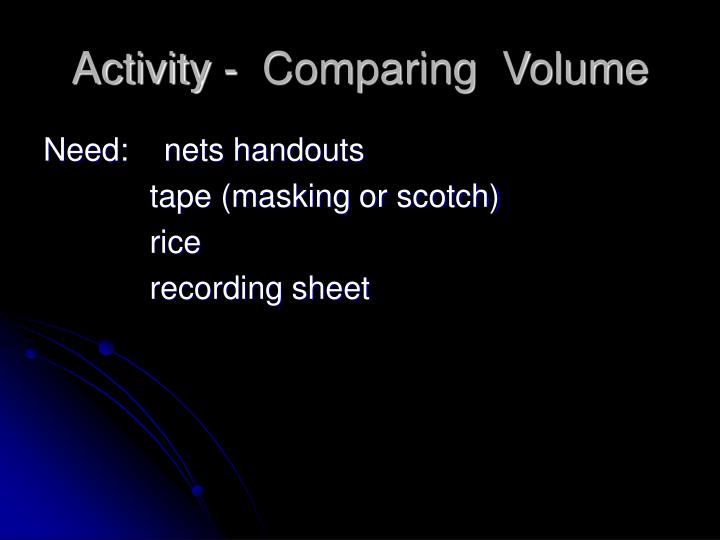 Activity -  Comparing  Volume