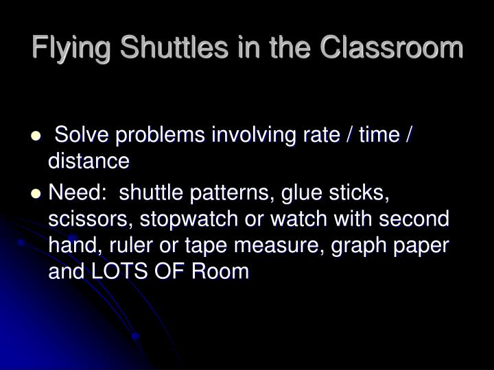 Flying Shuttles in the Classroom