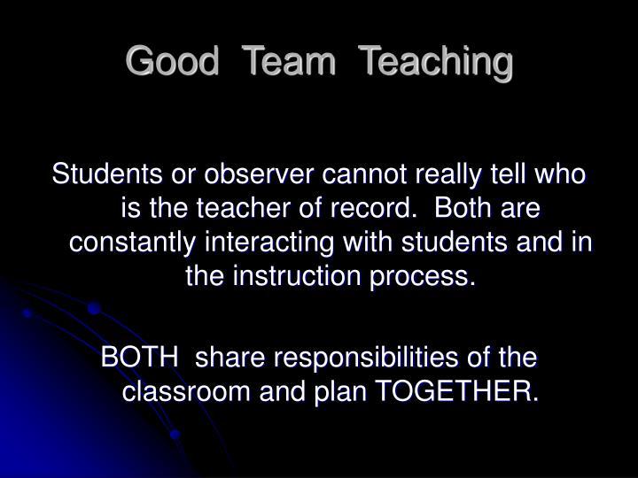Good  Team  Teaching