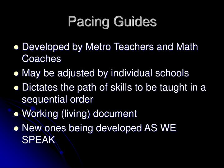 Pacing Guides