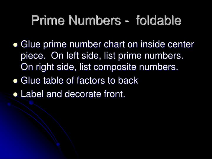 Prime Numbers -  foldable