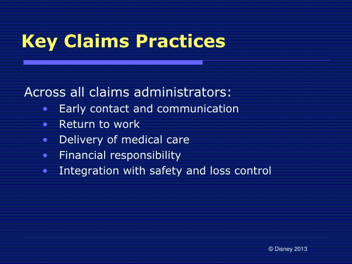 Key Claims Practices