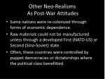 other neo realisms a s post war attitudes