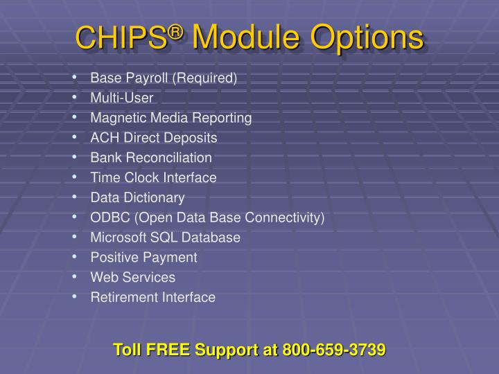 Chips module options