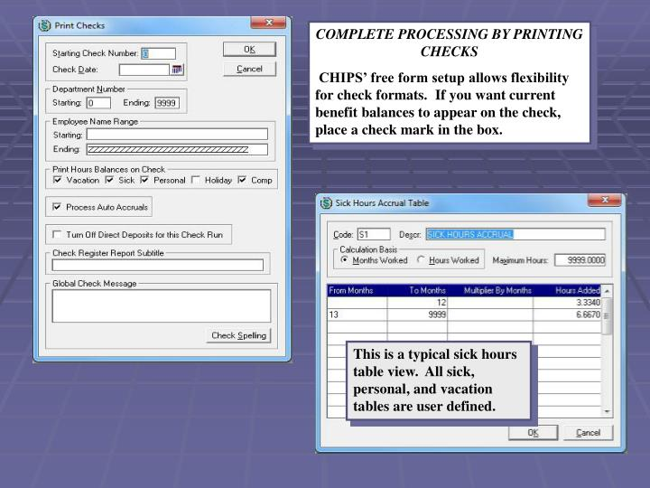 COMPLETE PROCESSING BY PRINTING CHECKS