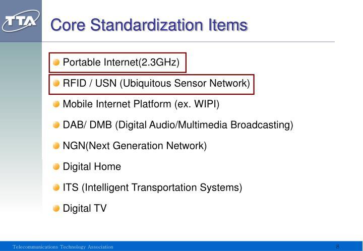 Core Standardization Items