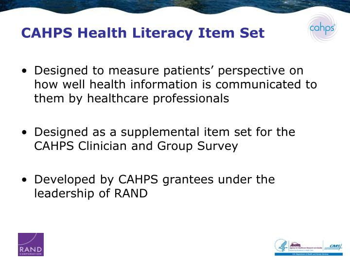CAHPS Health Literacy Item Set