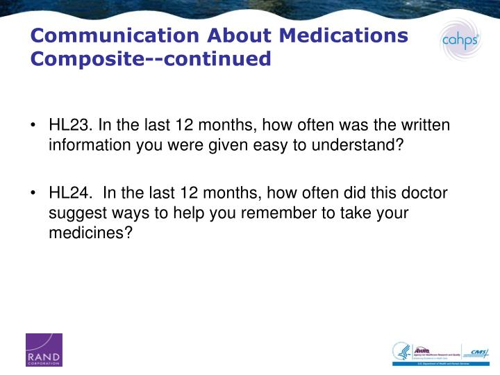 Communication About Medications Composite--continued