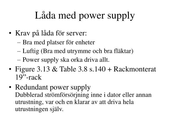 Låda med power supply