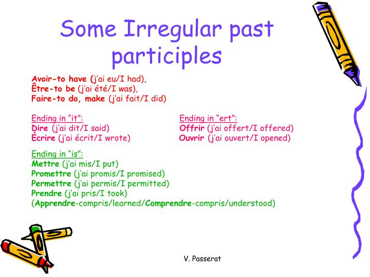 Some Irregular past participles