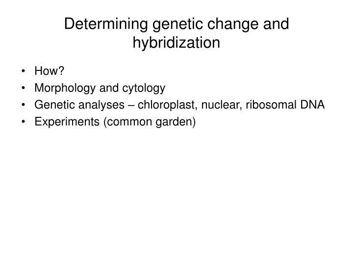 Determining genetic change and hybridization