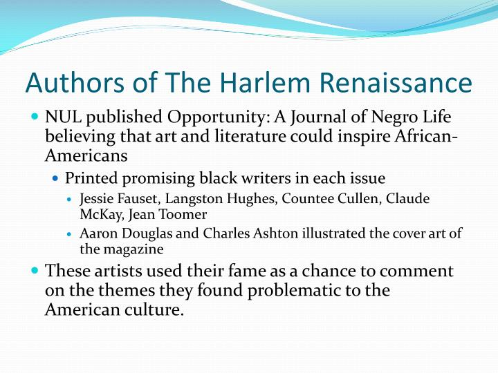 Authors of The Harlem Renaissance